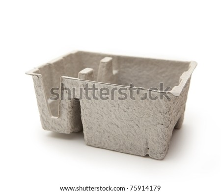 recycled paper packing tray. Isolated on white.