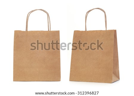Recycled paper shopping bags on white background