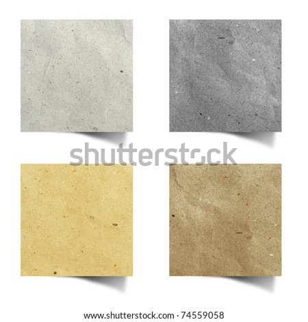 recycled paper stick on white background