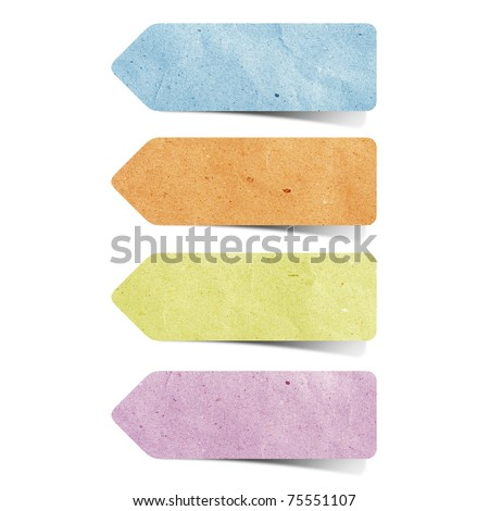 recycled paper stick on white background - stock photo
