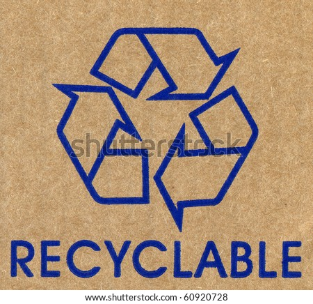 Recycled paper with rich details. Recycled symbol.