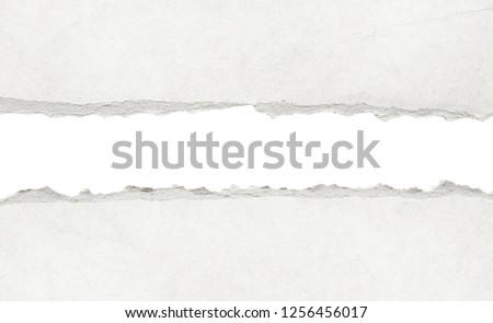 Recycled white torn horizontal note paper texture, light background. #1256456017