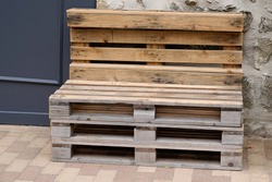 recycled wood garden chair lounge on the terrace make in diy wooden pallets