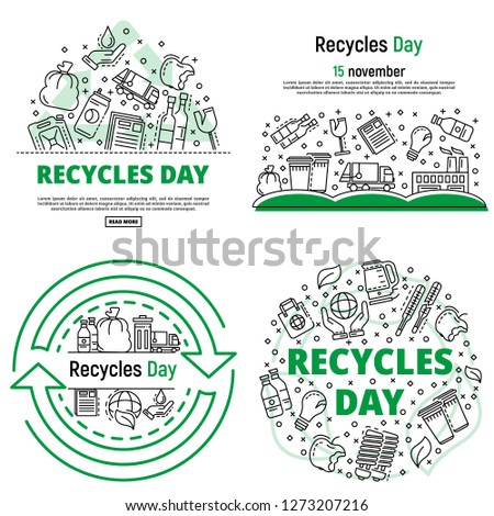 Recycles day banner set. Outline set of recycles day banner for web design