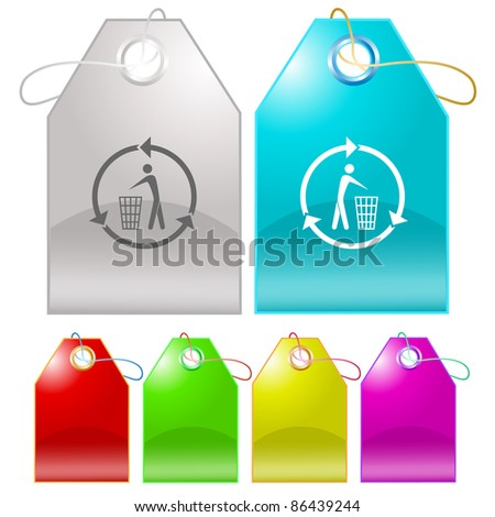 Recycling bin. Raster tags. Vector version is in my portfolio.