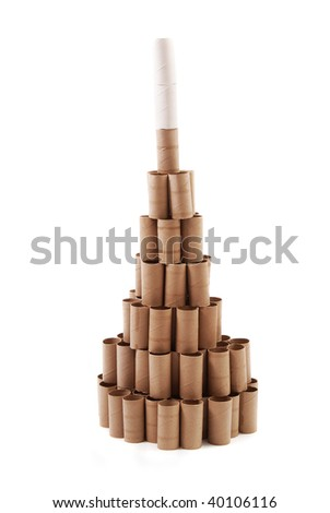 Recycling Christmas Tree made with cardboard rolls of toilet paper. White background