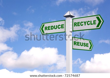 Recycling concept image of a signpost against a sky background with the 3 Rs in green text on the directional arrows, Reduce, recycle, reuse.