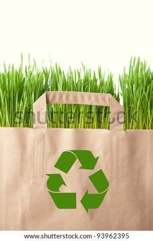 Recycling concept with grocery bag full of green grass