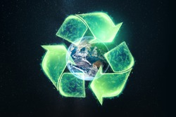 Recycling. Eco recycling green symbol. Recycling sign on the background of the globe