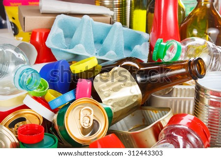 Recycling garbage and reusable waste management as metal, plastic, old paper products to be reused