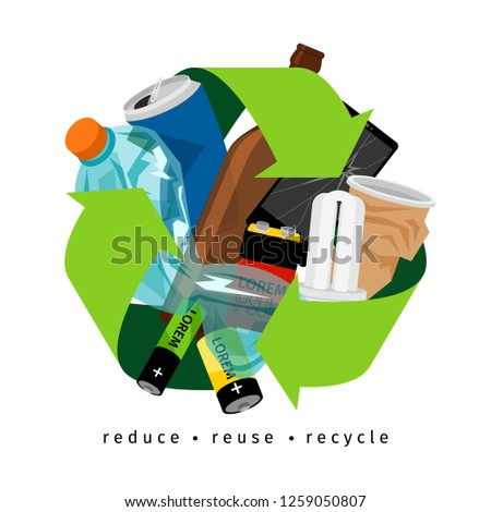 Recycling label with trash and recycle sign, on white background, illustration