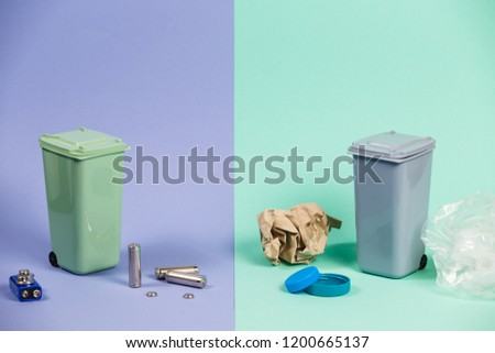 Recycling. Materials for recycle and reuse on pastel background. Ecology concept, a lot of recyclable objects in containers