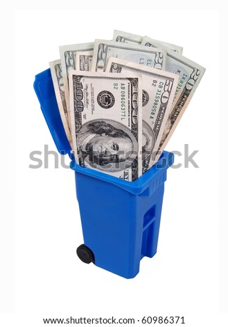 Recycling saves money shown by a recycling bin full of money - path included