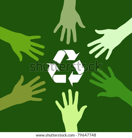 recycling sign been circled by various green hands.