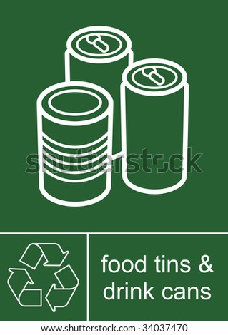 Recycling Sign Tins and Cans