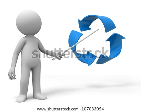 recycling symbol /A man is explaining the recycling symbol