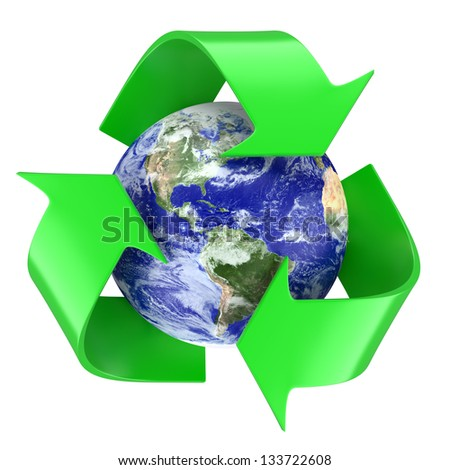 Recycling symbol around earth globe. 3d illustration. The Earth texture of this image furnished by NASA. (http://visibleearth.nasa.gov/view.php?id=57735)