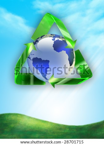 Recycling symbol around planet Earth. Digital illustration.