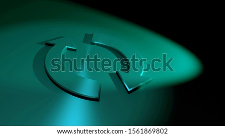 Recycling symbol. Arrow icons. Circular sign. Background image. Symbolism for restart, renewable, refresh, restore or renovation. Stainless steel. Iron surface. Colorful spotlight. 3D rendering.