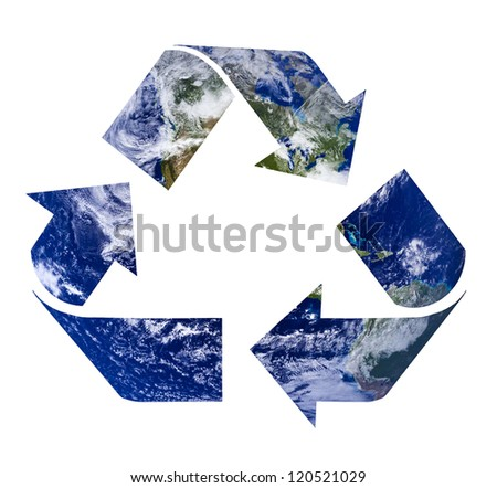 Recycling symbol from water and clouds