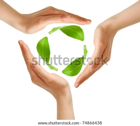 Recycling symbol made from hands isolated on white background environment concept