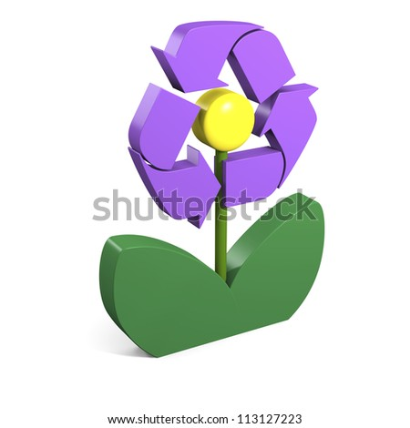 Recycling symbol on violet flower in three dimensional shape isolated on white background