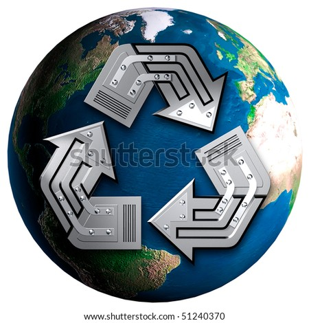 Recycling symbol over Earth globe Conceptual 3D illustration Environment and ecology concept Isolated on white background