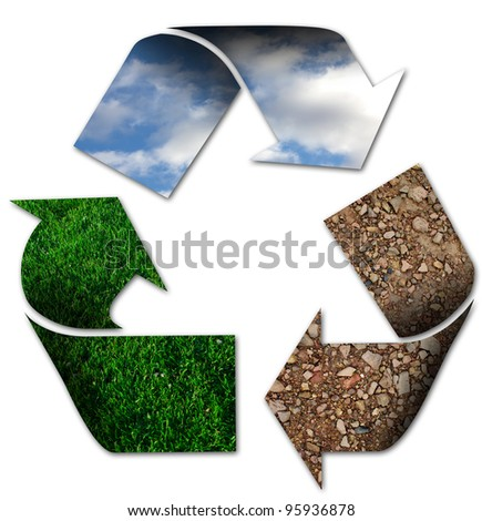 Recycling symbol with sky, grass and earth