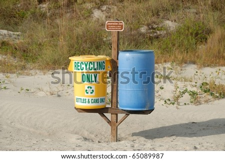 recyling bins on beach at st augustine florida