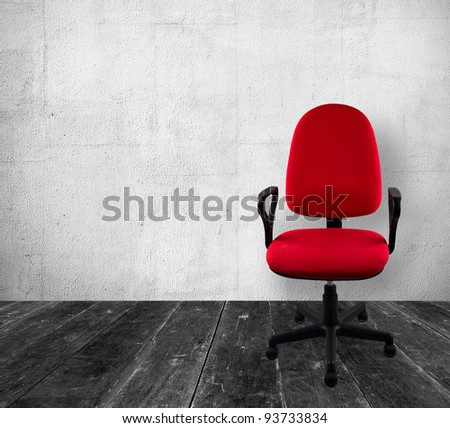 Red a chair in old white  interior