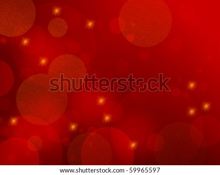 Red abstract background - elegant design with circles and stars, also suitable for Christmas themes