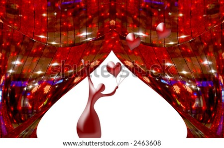 Red abstract curtains at a window with a silhouette of the ballerina and spheres hearts. A photo with elements computer diagrams