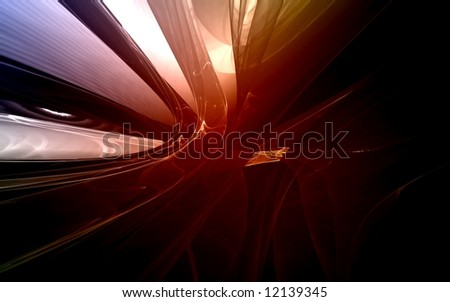 Red abstract fractal on black background  - stock photo