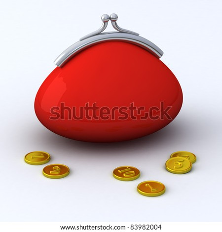 Red abstract purse with gold coins 3d