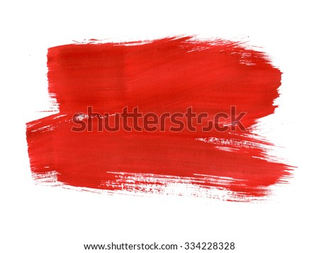 Red Abstract Stroke. Colorful raster watercolor brush stroke