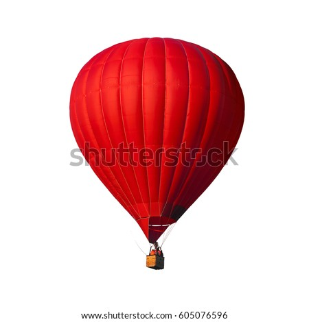 Red air balloon isolated on white with alpha channel and work path, perfect for digital composition - Shutterstock ID 605076596