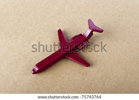 red aircraft of airplane on red color