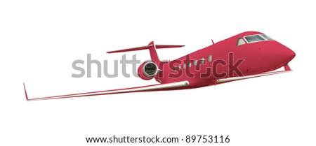 Red airplane isolated on white with clipping path