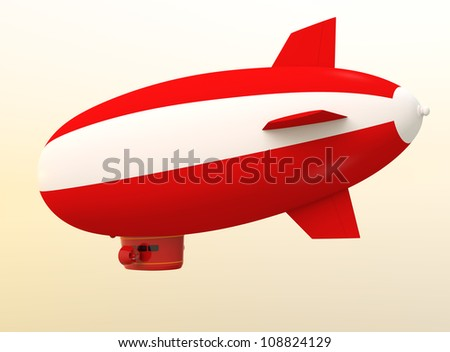 red airship with blank area to input message