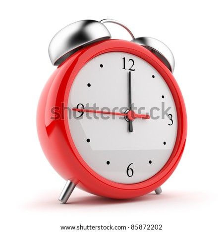 Red alarm clock 3d. Icon. Isolated on white