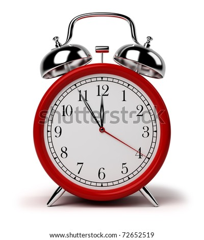Red alarm clock. 3d image. Isolated white background.