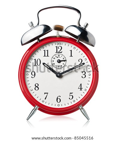 Red alarm clock, ringing, white background.