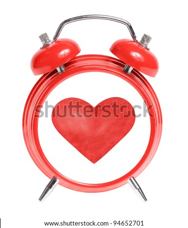 Red alarm clock with heart isolated