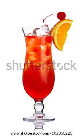 Red alcohol cocktail with orange slice isolated on white background