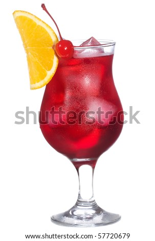 red alcohol cocktail with orange slice on white background