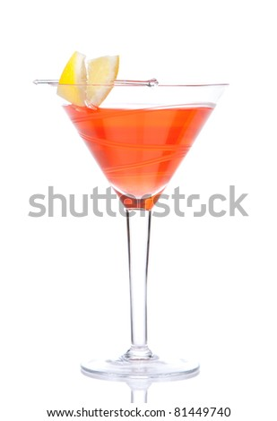 Red alcohol cosmopolitan cocktail decorated with citrus lemon in martini cocktails glass isolated on a white background