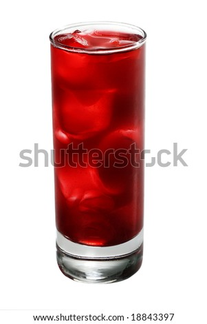 Red Alcoholic Cocktail made of Lychee Liqueur, Pineapple Juice and Cranberries Juice with Ice Cube. Isolated on White Background