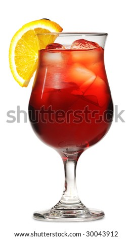 Red Alcoholic Cocktail with Orange Slice and Grape