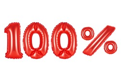 red alphabet balloons, 100 (one hundred) percent, red number and letter balloon