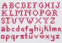 Red Alphabet Cross Stitch Sampler with Upper Case and Lower Case Letters.